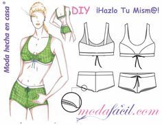 Download free patterns Swimsuit Two Piece - Bra & Short, available in 7 sizes ready to put on the fabric and cut