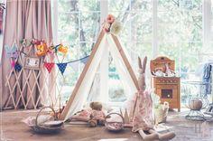 Rincón para niños con nuestra casita decorado por Begoña Iruño  de Llega mi Boda