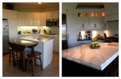 kitchen before & after remodel.  custom cabinetry and island with marble countertop and leathered black granite counters.