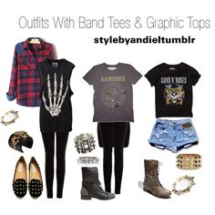 """Outfits With Band Tees & Graphic Tops"" by lovelyandie on Polyvore"