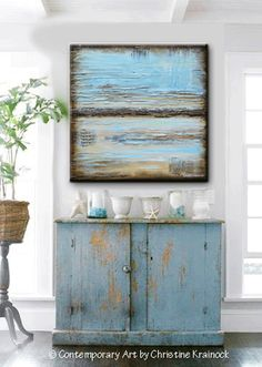 GICLEE PRINT Blue Abstract Painting Blue Brown Modern Urban Canvas Print Coastal Beach Artwork - Christine Krainock Art - Contemporary Art by Christine - 1