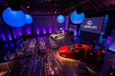 Lighted inflatables | Inflatable illuminated decor brings a pop of color and whimsy to corporate events. Lexus product launch at Dogpatch Studios with Allison+Partners. Photo by Show Ready Photography. Lighting Design by Got Light.