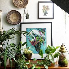 Art & plants combined for a botanical styling: I've scored a new high quality artwork from one of my favorite illustrators Olaf Hajek at @lumas_gallery and matched it with some of my plants. I love the mystical allure and richness of his illustrations. #ad #mylumas #art #green #urbanjunglebloggers    #Regram via @igorjosif #flatlay