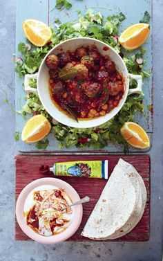 Jamie Oliver 15-minute meals lamb meatball recipe with salad and harissa yoghurt