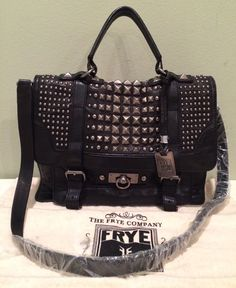 FRYE CAMERON STUDDED SATCHEL BLACK SOFT VINTAGE LEATHER SHOULDER WORK NWT $698  #Frye #Satchel $519.99