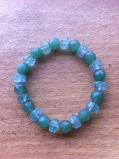 Fluorite & Green Aventurine Bracelet for a Wrist of 7 Inches by Crystalcures4u on Etsy