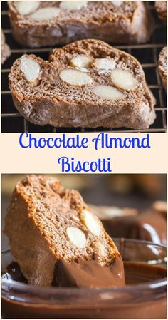 chocolate almond biscotti an traditional italian chocolate cookie made with roasted almonds and honey