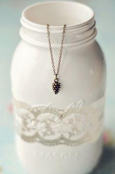 Tiny Pine Cone Necklace Holiday Jewelry by EternalEdenJewelry, $16.00
