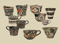 Cups with polychrome decoration. Kamares ware. Phaistos, Palaeopalatial period (1800-1700 BC). https://www.facebook.com/103918513050399/photos/a.164221160353467.33101.103918513050399/708495389259372/?type=1&theater