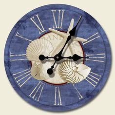 Nautical clock lines nautical children 39 s room for Seashell clock