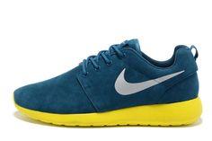 2014 New Hot Sale Nike Roshe Mens Running Shoes Wool Skin Online Blue Yellow