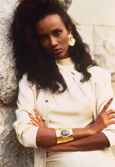 Model Iman works power dressing and chunky gold accessories  http://asos.to/1ny4ElD