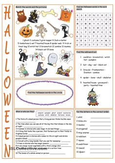 Halloween Vocabulary Exercises worksheet - Free ESL printable worksheets made by teachers Halloween Words, Halloween Games, Halloween Activities, Classroom Activities, Holidays Halloween, Halloween Puzzles, Halloween Vocabulary, Halloween Worksheets, Worksheets For Kids