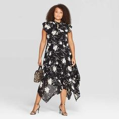Plus Size Floral Dress for Fall | Who What Wear Women's Plus Size Casual Fit Sleeveless Collared Midi Dress - Who What Wear