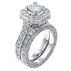 14k White Gold 5ct TDW Princess Diamond Bridal Ring Set (F-G, SI1-SI2) | Overstock.com