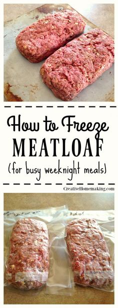 How to Freeze Meatloaf- One of the best ways to eat from scratch with a busy schedule is meal prepping. This is a step-by-step tutorial on how to freeze meatloaf ahead of time for a quick meal on a busy night. Next time youre making meat loaf whip up a Freezer Friendly Meals, Easy Freezer Meals, Quick Meals, Healthy Meals, Healthy Recipes, Freezer Food, Crockpot Meals, Freezer Dinner, Freezable Meals