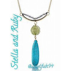 """Beautiful Stella and Ruby Necklace A long golden strand showcasing a turquoise and magnesite drop pendant. So versatile I wear mine with black as well as white/creme, it goes well and looks great with everything!   It has a lobster claw clasp, Featuring a turquoise and Magnesite gem. 14K Gold-Plated brass..the length is 30.5 height 4"""", width 3.25""""...you will love wearing this!! I get tons of compliments from all ages!! Stella and ruby Jewelry Necklaces"""