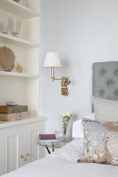 Interior Design Inspiration – Our portfolio showcases how we transformed a London townhouse into a traditional family home with an elegant country feel. London Townhouse, Pretty Pastel, Dresser As Nightstand, Little Miss, Interior Design Inspiration, Bookcase, Home And Family, Shelves, Bedroom