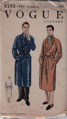 1950s Vogue 9445 Mens Robe Pattern Deep Shawl Collar ala Hugh Hefner mans vintage sewing pattern by mbchills