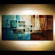 Abstract multiple layers painting Earth Tones Blues by Nizamas, $365.00
