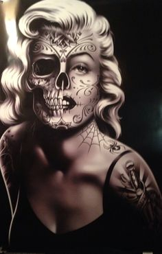 Marilyn monroe sugar skull sugar skulls pinterest for Marilyn monroe with tattoos poster