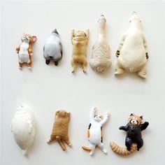 Cute Lazy Sleeping Pets Animals Lifelike pvc toys fridge magnets - 3