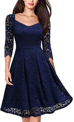 MISSMAY Womens Vintage Floral Lace Half Sleeve V Neck Cocktail Formal Swing Dress X-Large Navy Blue - Bridesmaid Dresses - Ideas of Bridesmaid Dresses Vestidos Rockabilly, Vintage Christmas Dress, Cocktail Vestidos, Lace Party Dresses, Wedding Dress, Dress Prom, Bridesmaid Dresses, Pinup, Date Night Dresses