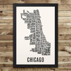 CHICAGO Map Neighborhood Typography Print by FlyingJunction