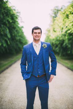 Blue Suit Groom Waistcoat Beautiful Relaxed Summer Blush Wedding http://jenmarino.com/