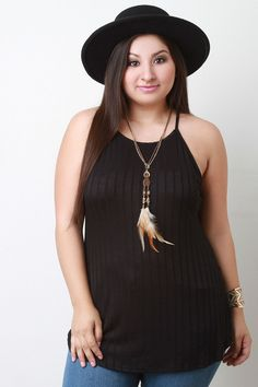 Feather Necklace Ribbed Trapeze Top
