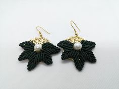 Autumn Leaves Earrings | Etsy Macrame Earrings, Leaf Earrings, Etsy Earrings, Earrings Handmade, Crochet Earrings, Handmade Jewelry, Unique Jewelry, Beach Bracelets, Shell Bracelet