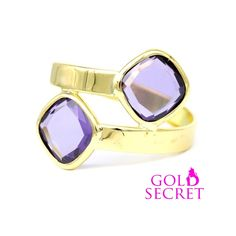 Divine Secret by Gold Secret. Sortija de Oro Amarillo 18 k., con 2 Amatistas Termium cruzadas. Ref 103002-1 PVP 89 €. Mirrored Sunglasses, Shopping, Amethysts, Yellow, Gold