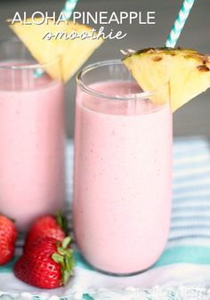 Copycat Jamba Juice Aloha Pineapple Smoothie A fruity smoothie you don't have to feel guilty about! - Copycat Jamba Juice Aloha Pineapple Smoothie Recipe – Six Sisters' Stuff Smoothie Packs, Smoothie Drinks, Breakfast Smoothies, Healthy Smoothies, Healthy Drinks, Healthy Recipes, Whole 30 Smoothies, Healthy Breakfasts, Healthy Food