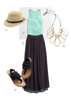 easy summer style // maxi skirt, tank top, sandals, and a statement necklace // via megan auman // click for outfit details