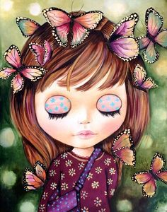 Art & Butterfly ~ by Claudia Tremblay Claudia Tremblay, Face Illustration, Butterfly Baby, Doll Painting, Iris Painting, 5d Diamond Painting, Cute Faces, Whimsical Art, Doll Face