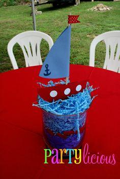 """Photo 6 of 22: Sailor/nautical / Birthday """"{Little Sailor Bear 1st Birthday}""""   Catch My Party Sailor Birthday, Sailor Party, Sailor Theme, Sailor Baby Showers, Baby Boy Shower, Nautical Centerpiece, Simple Centerpieces, Nautical Party, Nautical Mickey"""