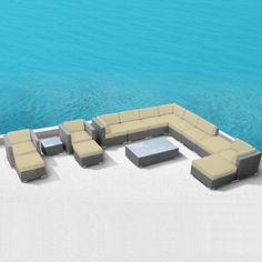 4 PCS Cushioned Outdoor Wicker Patio Set Garden Lawn Rattan Sofa Furniture
