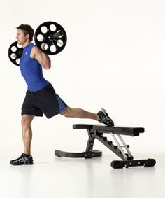 Bulgarian Split Squat  I've done these with dumbbells, but never a bar.. hmm I like this