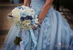 White and blue flowers bouquet