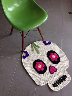 Día de la alfombra de ganchillo de cráneo muerto
