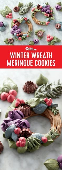 Winter Wreath Meringue Cookies - These Easy Blooms Winter Wreath Meringue Cookies might just be too beautiful to eat! Made using Easy Blooms decorating tips, as well as an assortment of metal cake decorating tips, these meringue cookies would be simply stunning for a winter wedding or holiday party. Use icing colors to tint your batter in these cool winter shades, and take your Christmas cookies up a level with these elegant wreath and flower cookies. #meringues #christmas #wiltoncakes