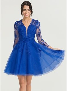 JJsHouse A-Line V-neck Knee-Length Zipper Up Sleeves Long Sleeves No Royal Blue General Plus Tulle Cocktail Dress. A Line Cocktail Dress, Shower Dresses, Color Swatches, Wedding Party Dresses, Special Occasion Dresses, Perfect Fit, Fashion Dresses, Cocktails, Tulle