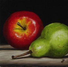 """Apple and Pear"" - Original Fine Art for Sale - © Jane Palmer"