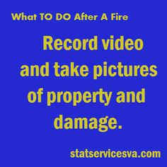 Things to do after a fire! Pin in case you ever need this! #fire #homefire #statservices