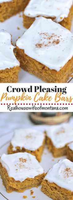 Pumpkin Cake Bars – Soft, moist and flavorful Pumpkin Cake dessert that has all of the spiced flavor of pumpkin pie in sheet cake style finished off with a soft and delicious cream cheese frosting. The perfect holiday or fall dessert.