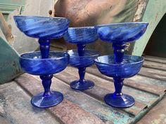 Six Vintage Mexican Blown Glass Dessert Dishes Goblets Blue Glass, Hand Blown, Southwest Decor