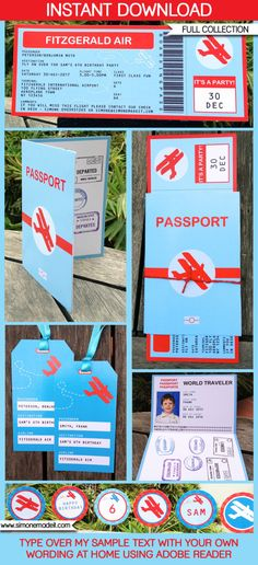 Airplane Boarding Pass Invitation, Passports & Party Decorations - printable collection - INSTANT DOWNLOAD - EDITABLE text you personalize by SIMONEmadeit on Etsy https://www.etsy.com/listing/124170223/airplane-boarding-pass-invitation