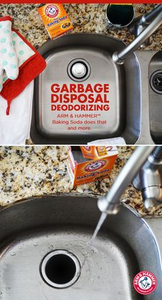 Here's an easy cleaning hack for your garbage disposal: pour ARM & HAMMER™ Baking Soda down the drain while running warm water. This will clean and deodorize your garbage disposal. Want more freshness? Use Baking Soda on a damp sponge and wipe your sink clean.