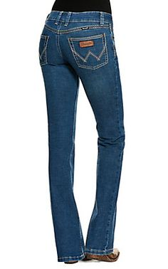 Wrangler Women's Willow Ultimate Riding Jean Light Wash Mid Rise Boot Cut Jeans   Cavender's Country Wear, Wrangler Jeans, Cut Jeans, Tights, Skinny Jeans, Dark, Boots, How To Wear, Outfits