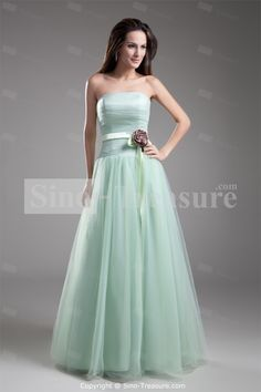 Beautiful Sage A-Line Strapless Apple Sleeveless Floor-Length Prom Dresses - Wedding   · Tulle Bridesmaid DressStrapless ... c5225c932